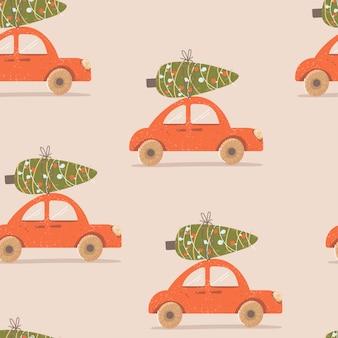 Рождественский узор с машиной и елкой