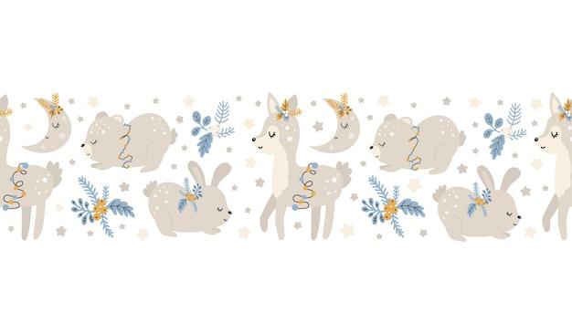 동물 스칸디나비아 손으로 그린 원활한 패턴 크리스마스 패턴입니다. 새 해, 크리스마스, 인쇄, 종이, 디자인, 직물, 배경에 대한 휴일 텍스처. 벡터 일러스트 레이 션