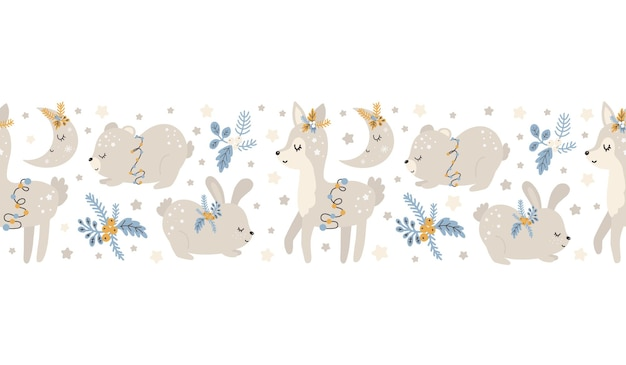 Christmas pattern with animals scandinavian hand drawn seamless pattern. new year, christmas, holidays texture for print, paper, design, fabric, background. vector illustration