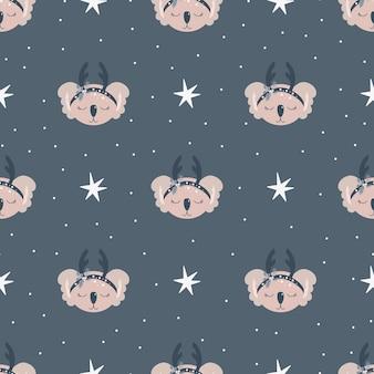 Christmas pattern with animals scandinavian hand drawn seamless pattern. new year digital paper