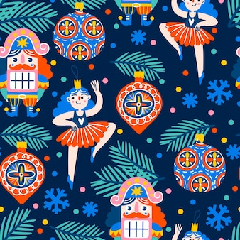 Christmas pattern with baubles nutcrackers and ballet dancers