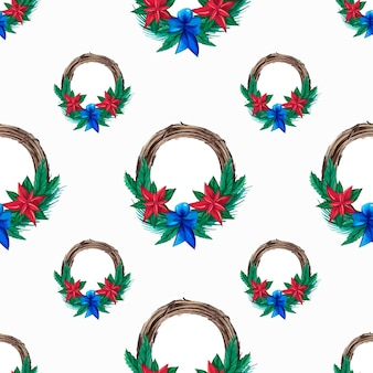 Christmas pattern with beautiful  botanical wreaths