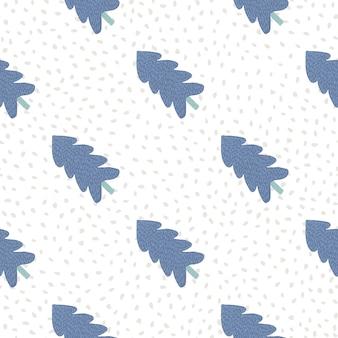 Картина рождества с голубой елью на белой предпосылке с светлыми точками.