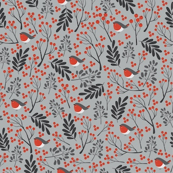 Christmas pattern with bullfinch