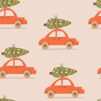 Christmas pattern with a car and a tree