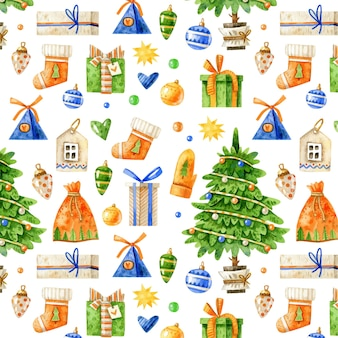 Christmas pattern with christmas tree