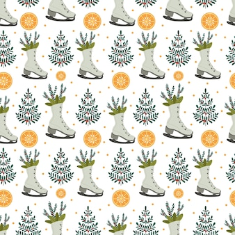 Christmas pattern with christmas trees and oranges