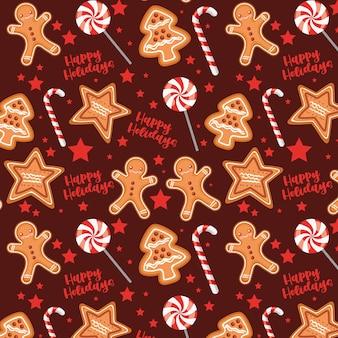 Рождественский узор с печеньем и конфетами
