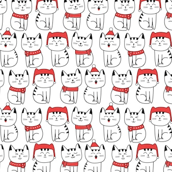 Christmas pattern with cute cat cartoon hand drawn style