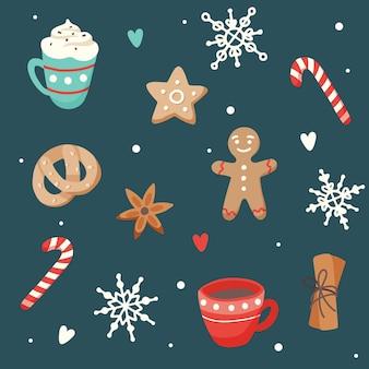 Рождественский узор с милыми чашками и имбирным печеньем