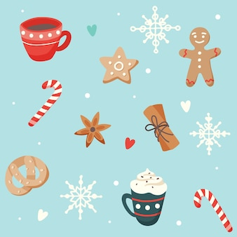 Christmas pattern with cute cups and ginger cookies