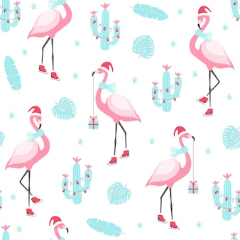 Christmas pattern with cute flamingo on skates. illustratio