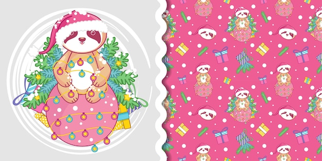 Christmas pattern with cute sloth