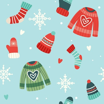 かわいいセーター、帽子、靴下、手袋のクリスマスパターン