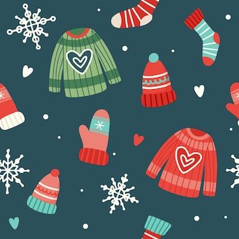 Christmas pattern with cute sweaters, hats, socks and gloves