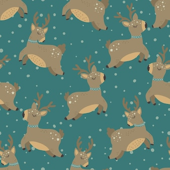 Christmas pattern with deers scandinavian hand drawn seamless pattern new year christmas holidays