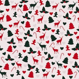 Рождественский узор с оленями, деревьями, печеньем и омелой