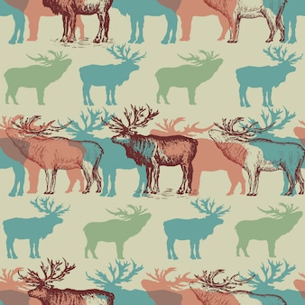 Christmas pattern with deers winter background