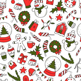 Christmas pattern with doodles