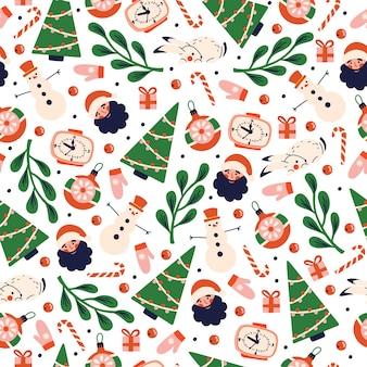Рождественский узор с элементами праздника с елкой, санта-клаусом, белым кроликом.