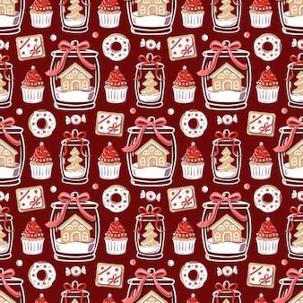 お祝いの装飾が施されたクリスマスパターン。ガラスの瓶にカップケーキ、ドーナツ、ジンジャーブレッド