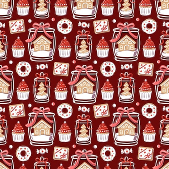 Christmas pattern with festive decorations. cupcakes, donut and gingerbread in glass jar