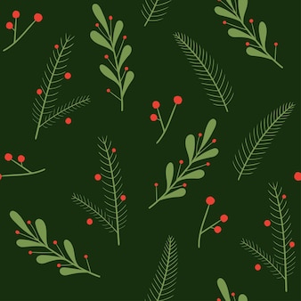 Christmas pattern with fir branches and christmas plants vector seamless pattern for the new year