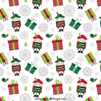 Christmas pattern with gifts and nutcrackers