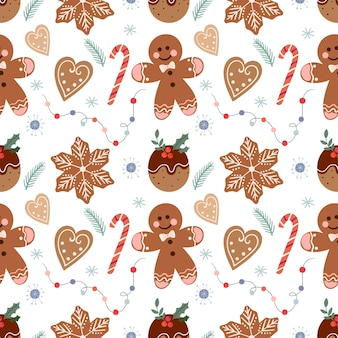 Christmas pattern with gingerbread and candies