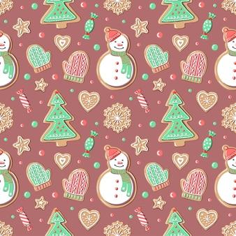 ジンジャーブレッドのクリスマスパターン。クリスマスツリー、雪だるま、ミトン、スノーフレーク、ハート、星、背景のお菓子