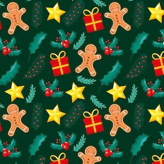 ジンジャーブレッドの贈り物と星のクリスマスパターン