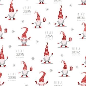 Рождественский образец с гномами в красных шляпах. симпатичные скандинавские эльфы.