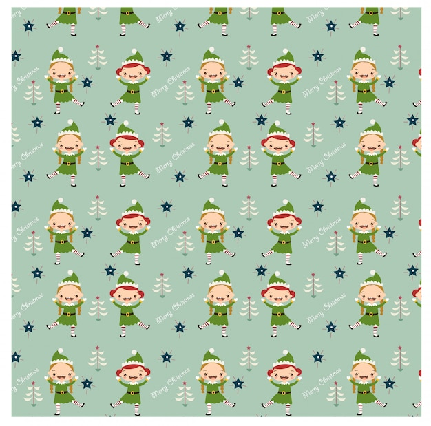 Christmas pattern with happy elves dancing