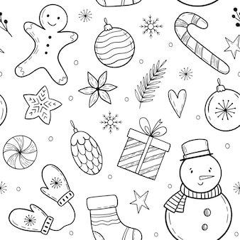 Christmas pattern with holiday elements doodle christmas elements winter handdrawn illustration