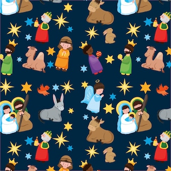 Christmas pattern with holy family and characters cartoon