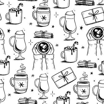 Рождественский образец с горячим напитком зимнего кофе, чая, шоколада. рисованной каракули эскиз стиля. чашка для питья, кружка с зимним шарфом. векторная иллюстрация.