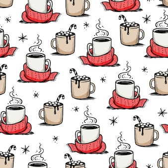 Christmas pattern with hot drink of winter coffee, tea, chocolate. hand drawn doodle sketch style. drink cup, mug with winter scarf. vector illustration.