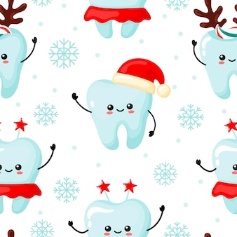 Christmas pattern with kawaii teeth. cartoon style
