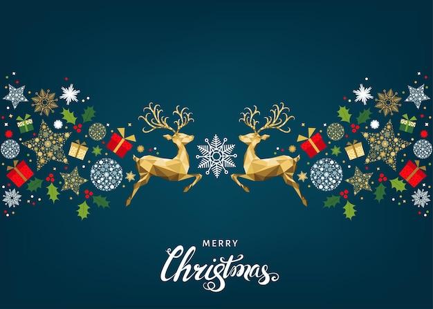 Рождественский образец с буквами и золотыми рождественскими оленями и снежинками. украшение дерева. с новым годом синий фон. вектор красочный шаблон для поздравительной открытки.