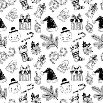 Рождественский узор с ветками омелы и ели