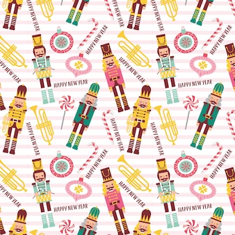 Christmas pattern with nutcrackers