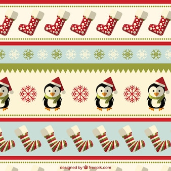 Christmas pattern with penguings and socks