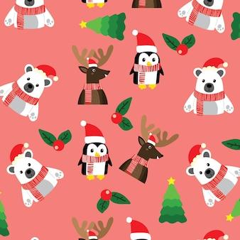 북극곰 펭귄과 순록이 있는 크리스마스 패턴