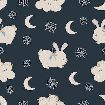 Christmas pattern with rabbit scandinavian hand drawn seamless pattern. new year digital paper