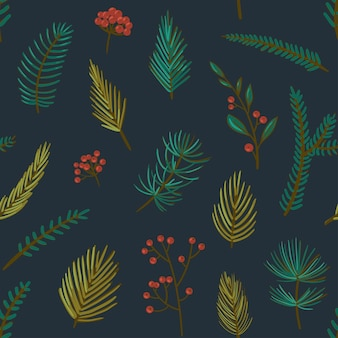 Christmas pattern with red winter berries and coniferous branches vector seamless pattern