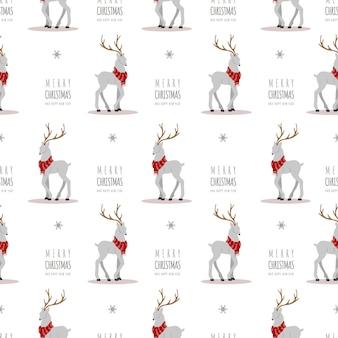 Christmas pattern with reindeers. cute deers with antlers and scarves.