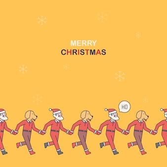 サンタクロースと手を繋いでいるラブラドールのクリスマスのパターン