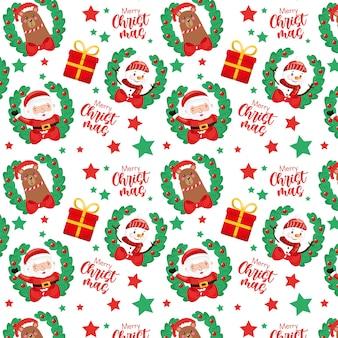 サンタクロースと雪だるまのクリスマスパターン