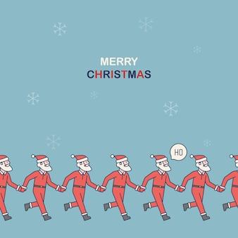 手を繋いでいるサンタクロースとクリスマスのパターン。クリスマスと新年のパターン