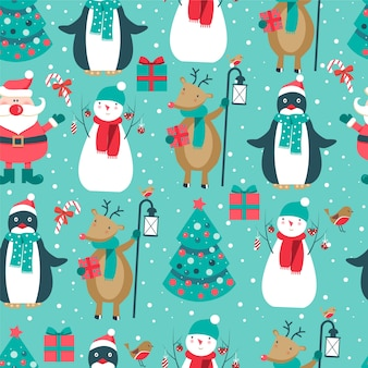 Christmas pattern with santa, deer, lamp, penguin, tree and snowman.